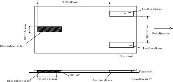 (a)水平引っ張り型すべり試験機の例(EN 13893:2002)